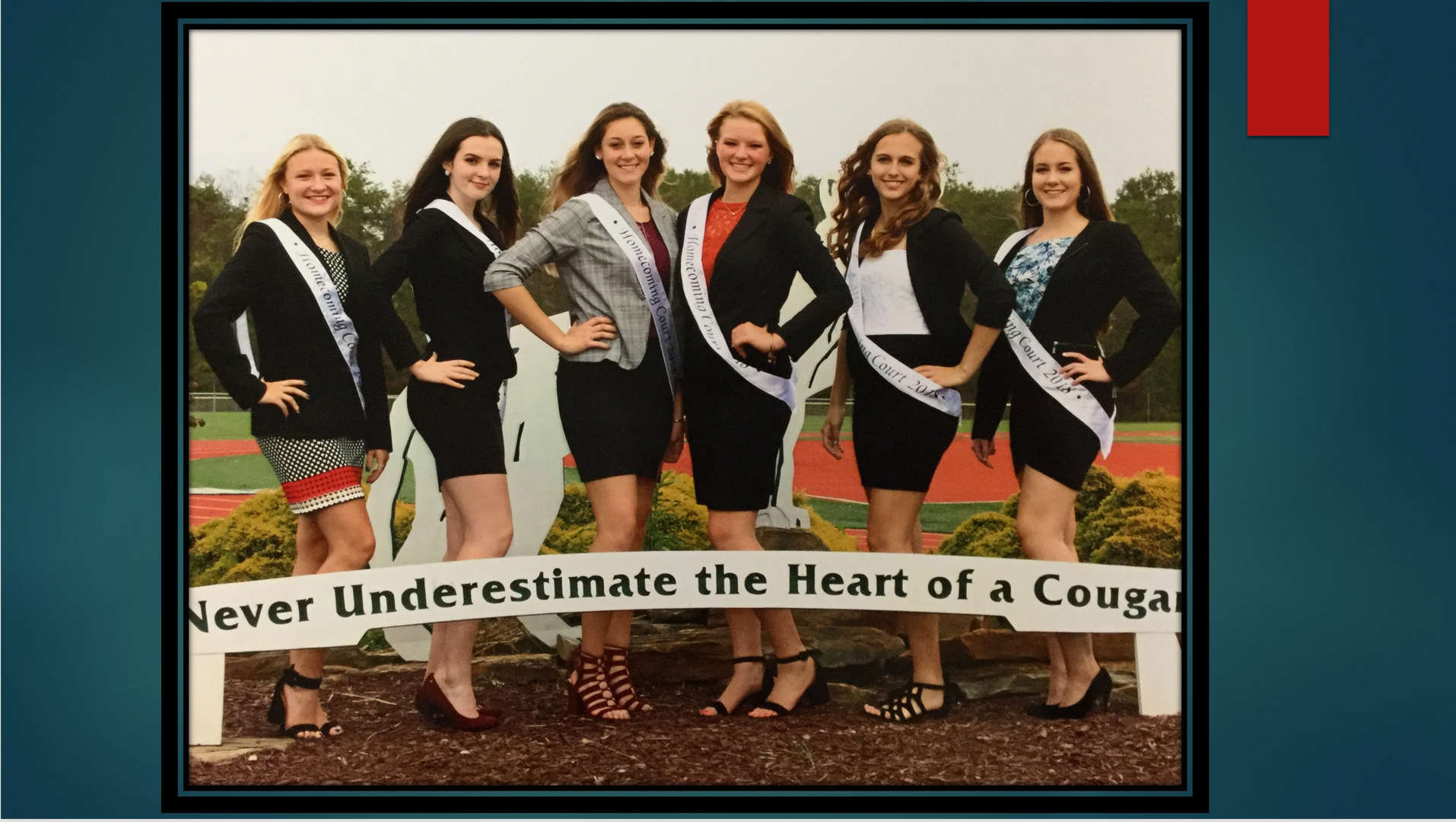 2018 Homecoming Court Girls:  Ryan, Cara, Cassidy, Corrin, Rebecca, Julia