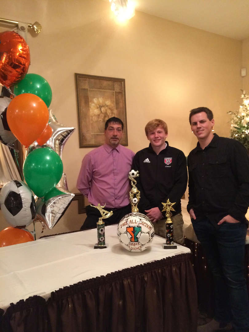 Parker Hillock - All Section Boys Soccer Shown with Coach Duda and Coach Vilcheck