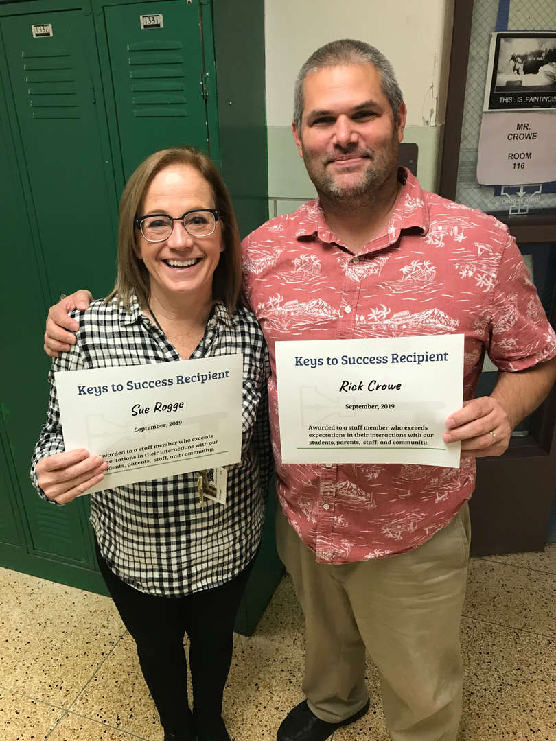 Key to Kindness Awards for September  Mrs. Rogge and Mr. Crowe