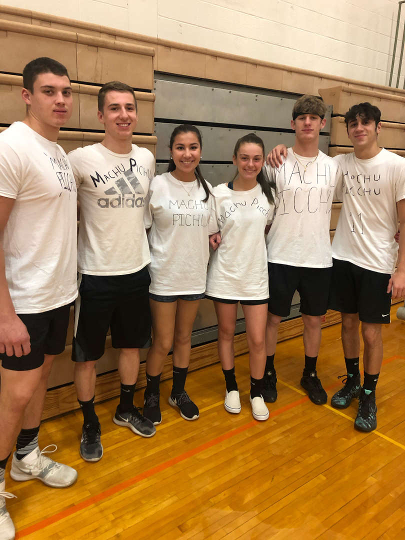 Volleyball Tournament 2019  First Place Winners - Machu Picchu  Russell, Hunter, Libby, Hadley, CJ, Nate