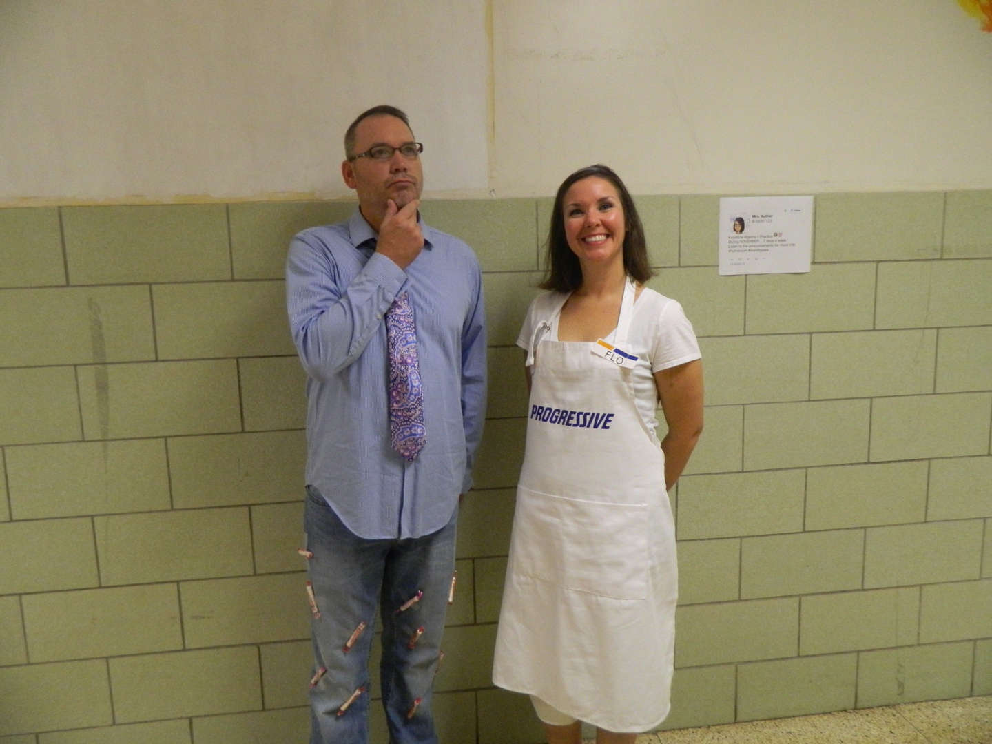 """Red Ribbon Week - Halloween Day Mr. Ohler and Mrs. Auther """"Smarty Pants"""" and """"Flo"""""""