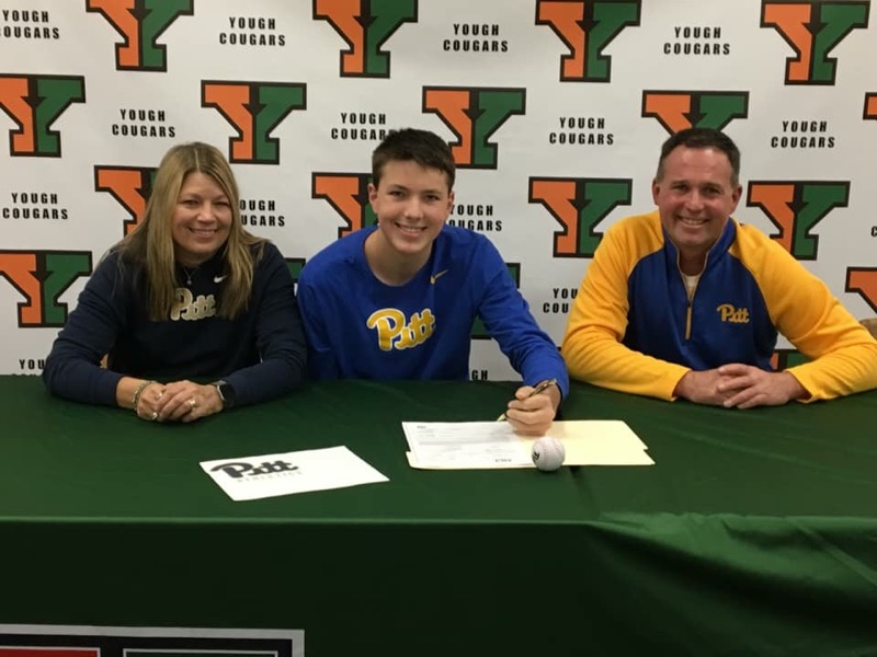 Congratulations Jarett, he signed a Letter of Intent to go to school and play Baseball at the University of Pittsburgh. Shown with his parents: Joni and Ken