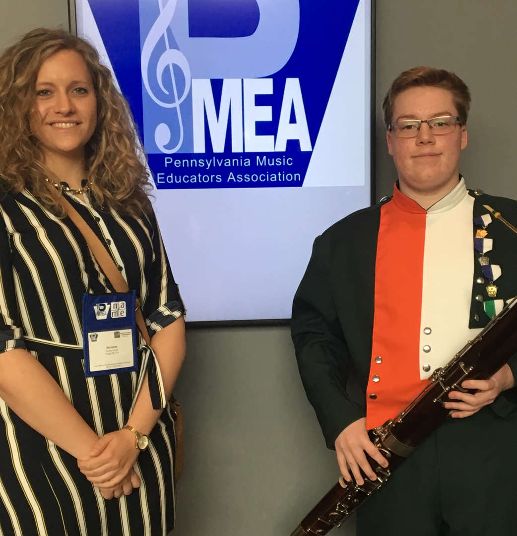 Band Director Miss Larson with Walter Walter placed 3rd in the PMEA All State Concert Band