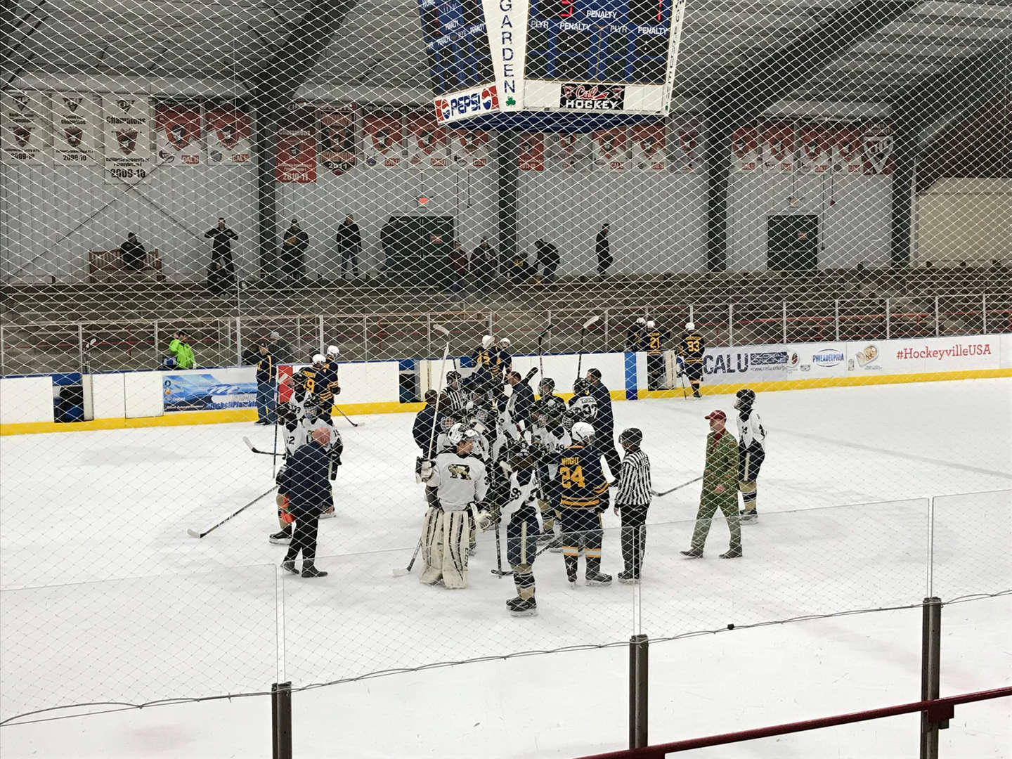 Ringgold won at home vs Carrick 3-1 Final Evan Cook, senior at Yough Senior High  had 31 saves on 32 shots.  Ringgold's record to 10-3-0 and remain in 2nd place in their division. Pic is team giving props to fans after handshakes!