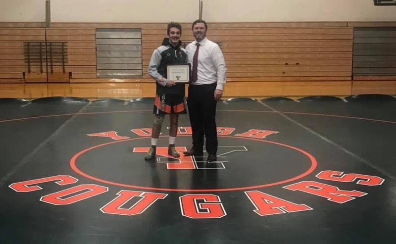 Congratulations Jake on earning the Bob Weaver Award for Wrestling for achievement and team contribution on 1/21/19 - Senior Night.