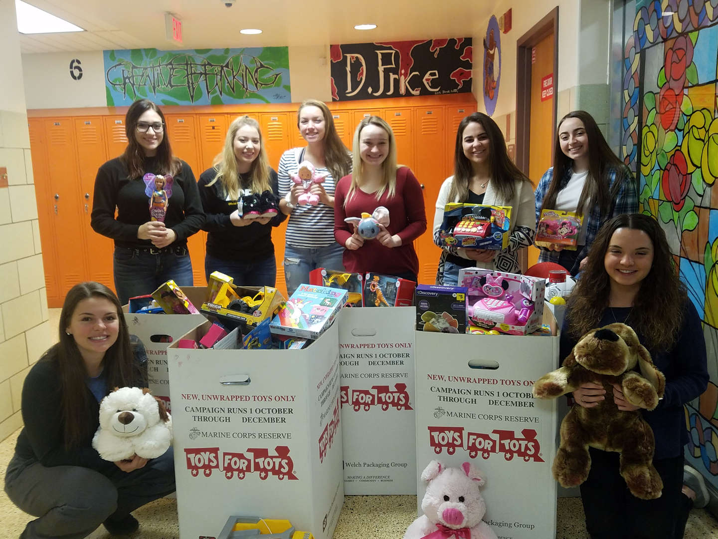 Thank you to all who encouraged our students to bring in toys for the TOYS FOR TOTS drive. This year CAP/SADD collected a total of 252 toys. Shown below is a picture of some of the CAP/SADD students with the toys!  (The movie will be pds. 6, 7, and 8 on Friday, December 19th. The movie will either be Incredibles 2 or The Greatest Showman.)