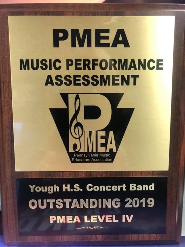 Congrats to the high school concert band for being awarded by the Pennsylvania Music Educators Association for their Outstanding Music Performance Assessment in 2019.  Yough High School received the highest score at their level.