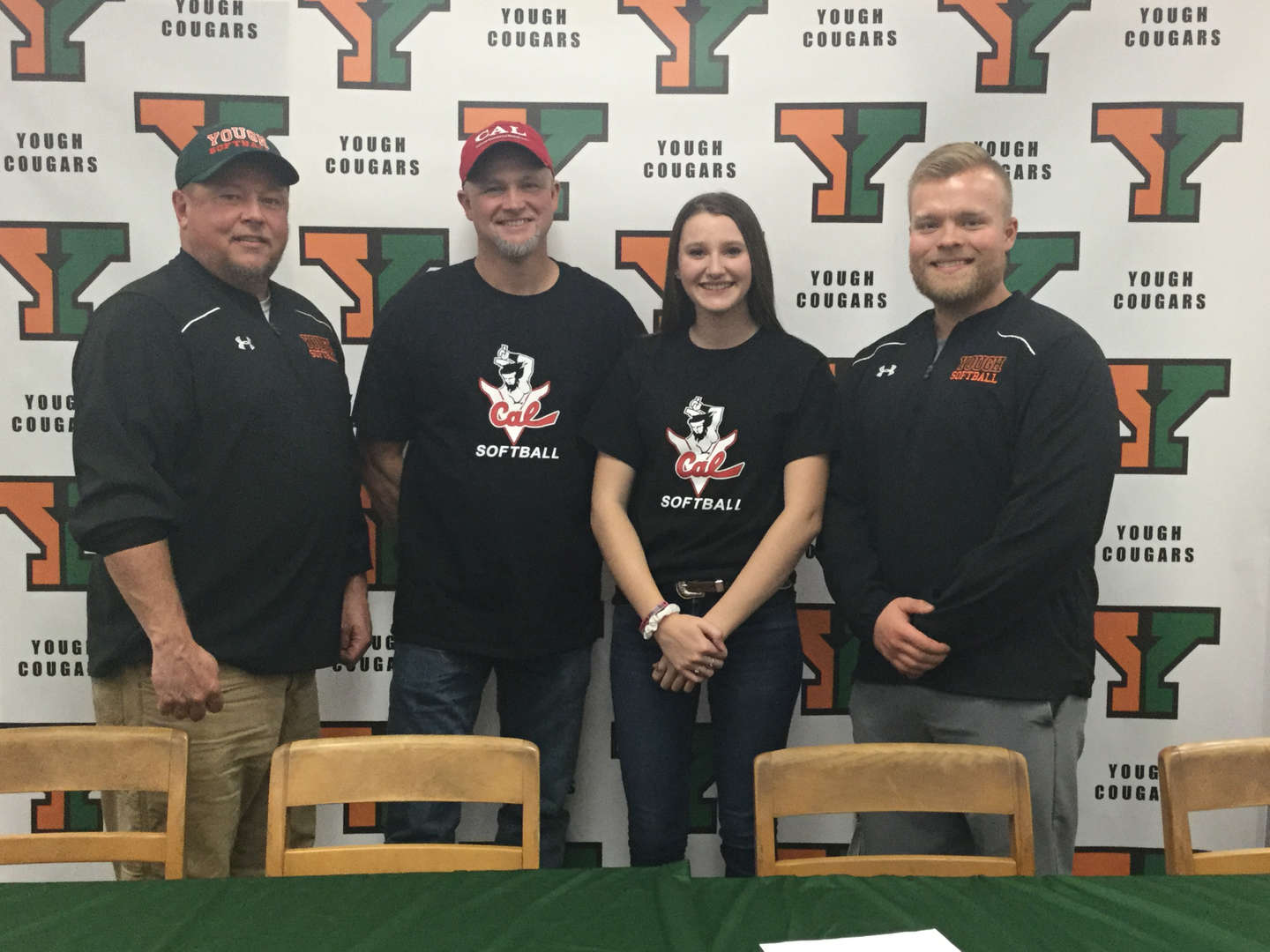Kierra after signing her Letter of Intent to attend California University of PA.  She is with her coaches from L-R:  Dutch Harvey, Keith Waywood, Kierra and Euel Craze.