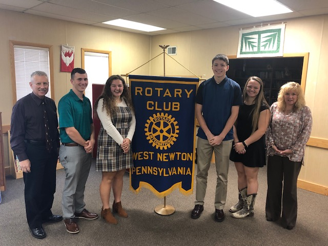 November Rotary Students of the Month:  Tyler Trayter, Lindsey McClaren, Jarett Bach and Starr Conlan.  Shown with Dr. Ives and Dr. Sardon