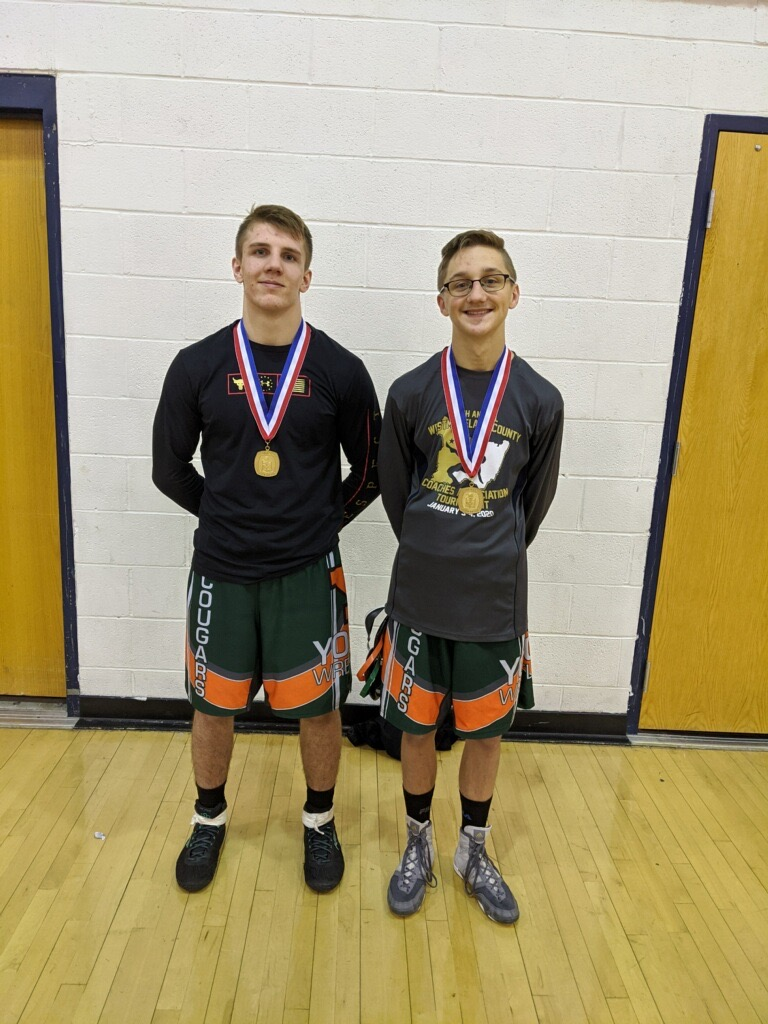 Wrestlers Glenn Christner and Shane Momyer @Sectionals with their FIRST PLACE Medals.
