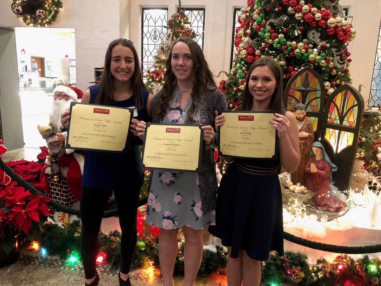 Congratulations to the following girls who won awards at the Seton Hill Women in Science Day.  Kaylynn won the Math award, Samantha won the Chemistry award, and Sarah won the Biology award.  Congratulations Girls!!!!!