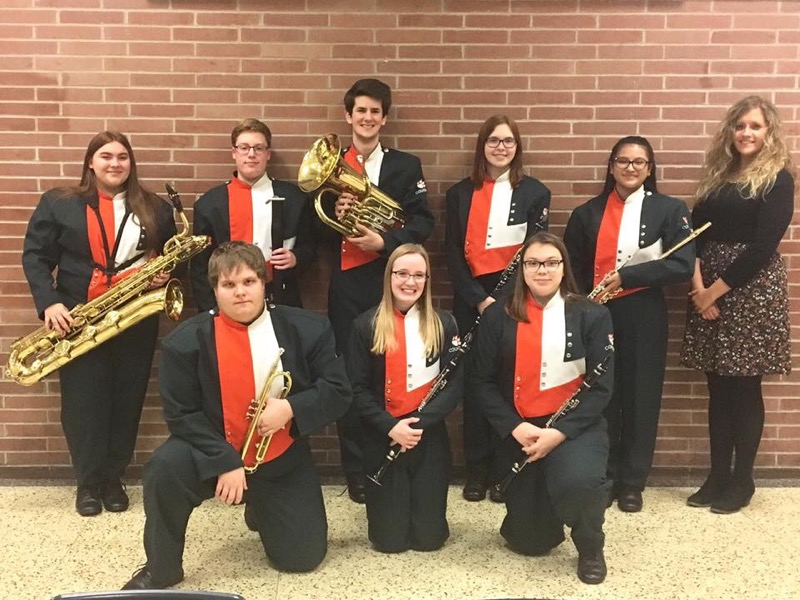 YHS students and Miss Larson participating in the WCMEA County Band Festival.
