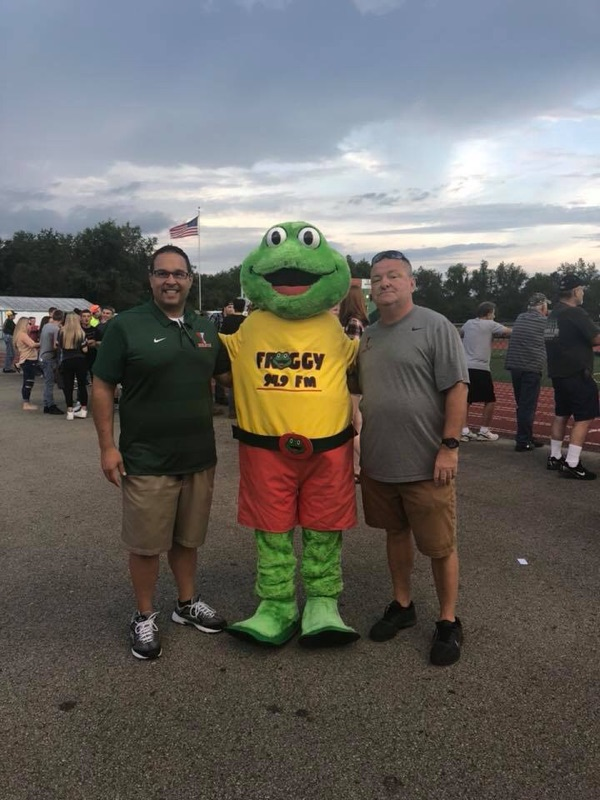Mr. Sutherland, Froggy Mascot and Mr. Evans Football Game