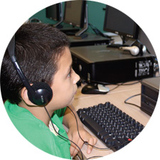 English in a Flash- student on computer learning