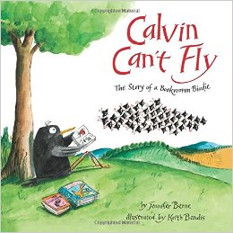 "Book Cover for ""Calvin Can't Fly,"" the story of a bookworm birdie"