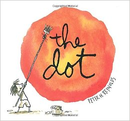 "Book Cover for ""The Dot,"" with a child painting an orange dot"