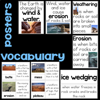 Wind & Water Vocabulary, Erosion, Weathering, Butte, Mesa, Plateau, Ice Wedging