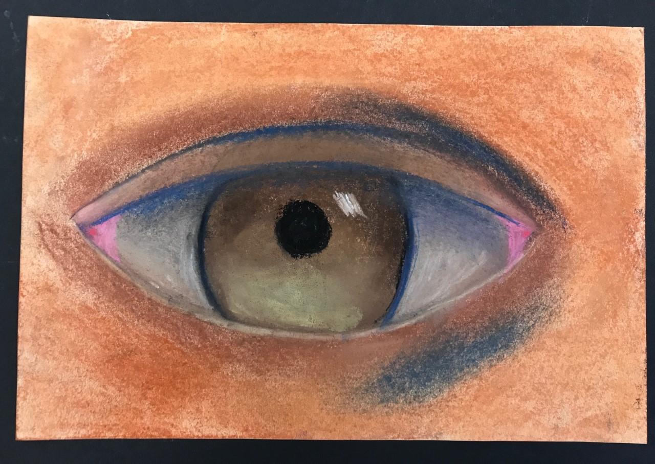 Pastel drawing of an eye