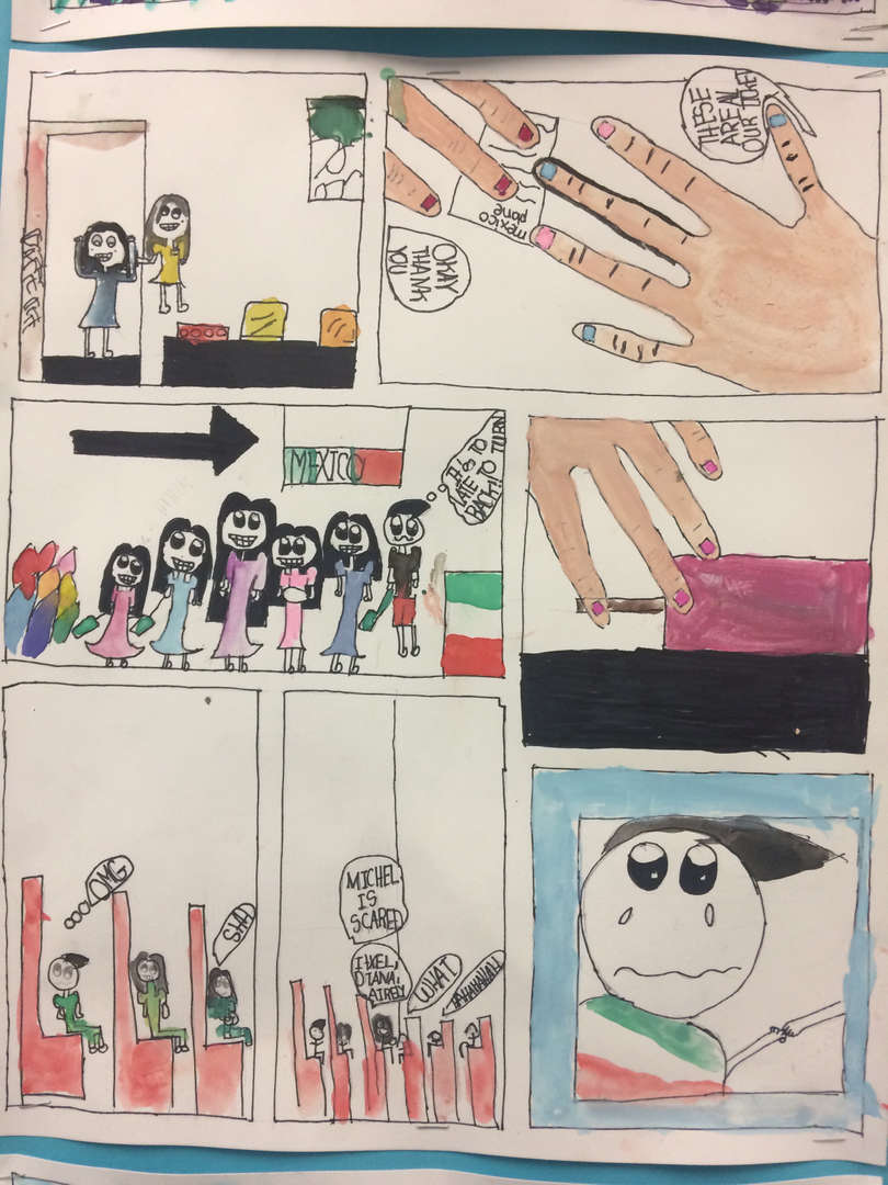 Student Artwork, featuring a graphic story of siblings who are both excited and scared about flying to another country