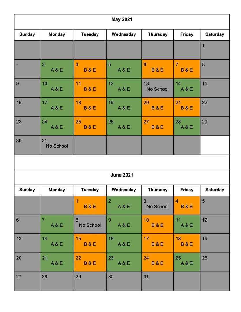 Blended Learning Calendar - May & June 2021