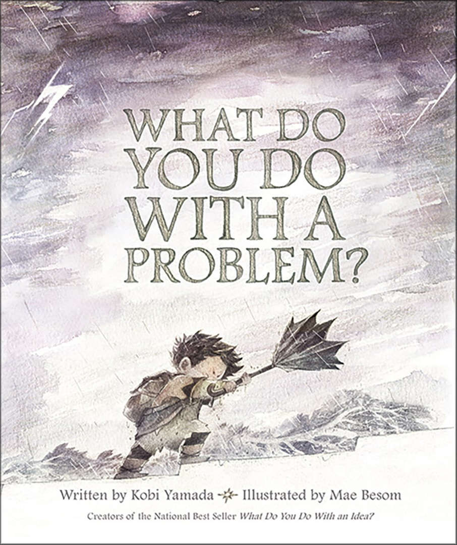 Book Cover with a young boy whose umbrella has broken in a storm