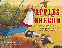 "Book Cover for ""Apples to Oregon"" with an excited girl driving an ox wagon"