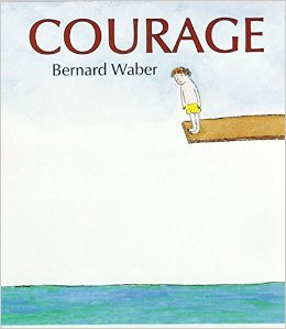 "Book Cover for ""Courage"" with a young boy standing on the edge of a diving board"
