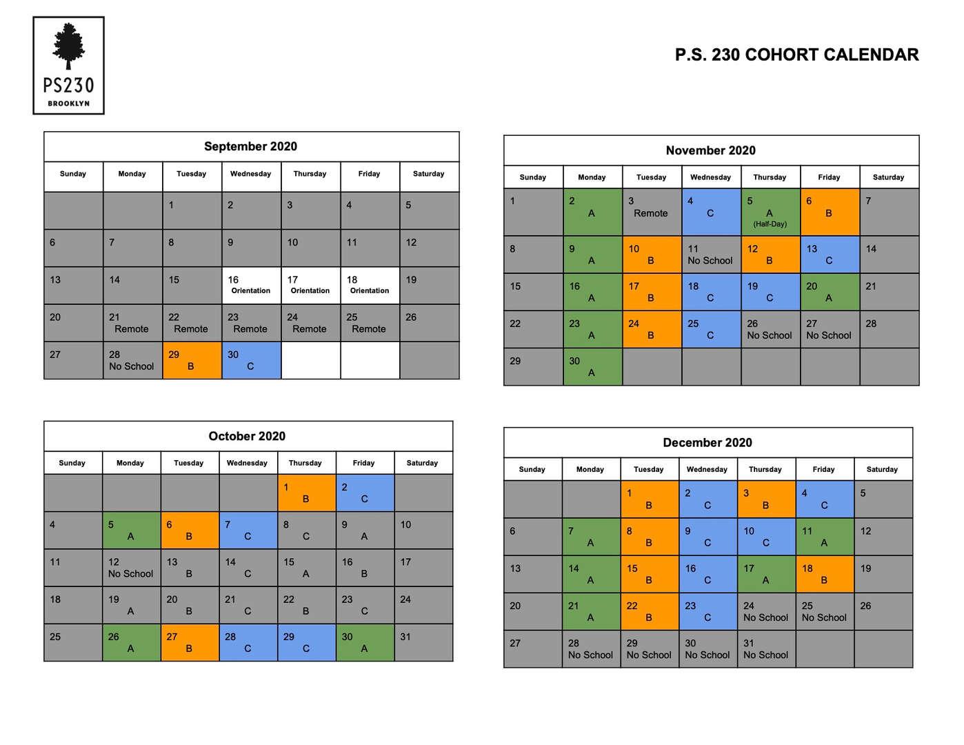 PS 230 Blended Learning Calendar Fall 2020