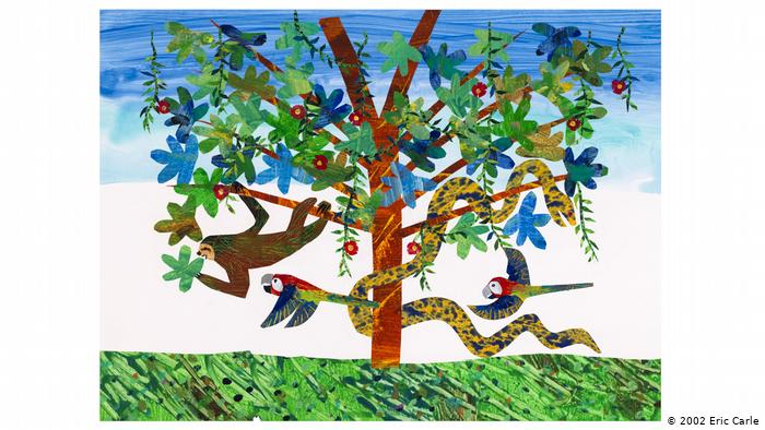 Eric Carle's collage illustration of a sloth in a tree filled with birds, snakes and other jungle animals