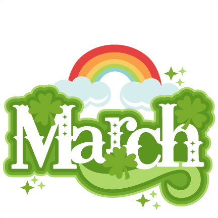 "The word ""March"" with a rainbow"