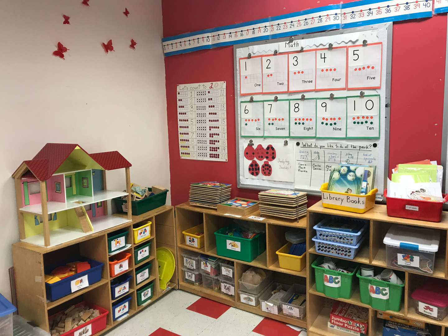 view of the classroom with student work on the bulletin board. number study