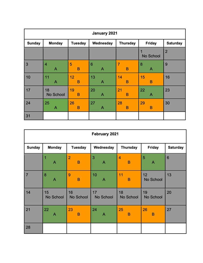 January/February Blended Learning Calendar