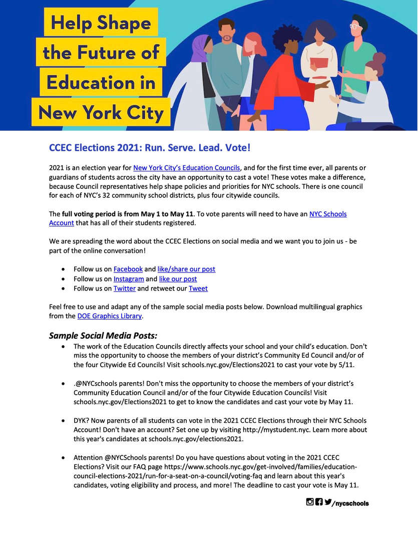 Help Shape the Future of Education in NYC!  Vote in the 2021 CEC Elections
