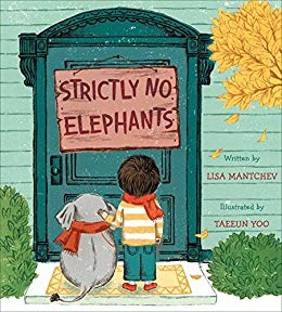 Book Cover with a young boy and his pet elephant standing before a closed door