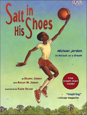 "Book Cover for ""Salt in His Shoes,"" featuring a young boy playing basketball"