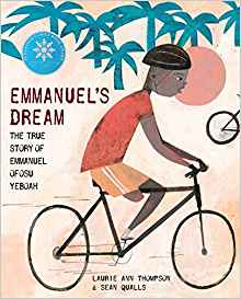"Book Cover of ""Emmanuel's Dream,"" with a boy on a bicycle"