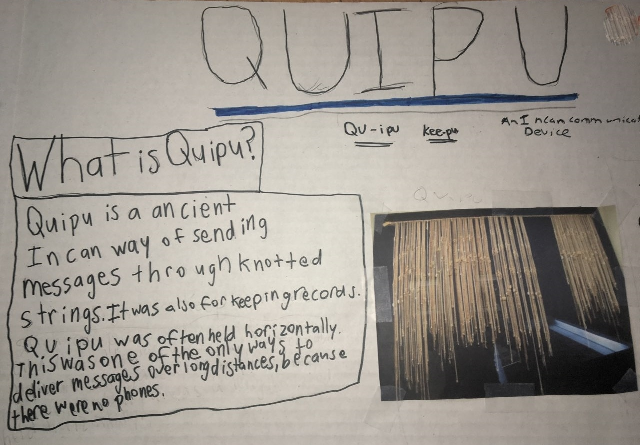 Social Studies report on  Quipu, an Incan message system