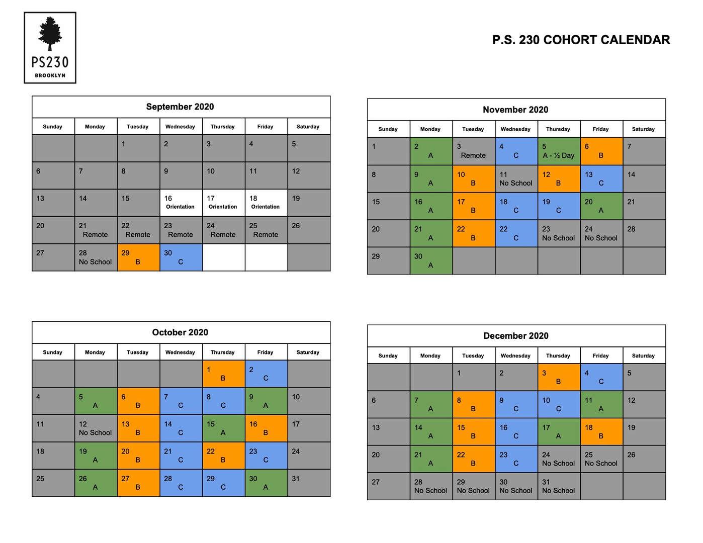 PS 230 Cohort Calendar - Fall 2020