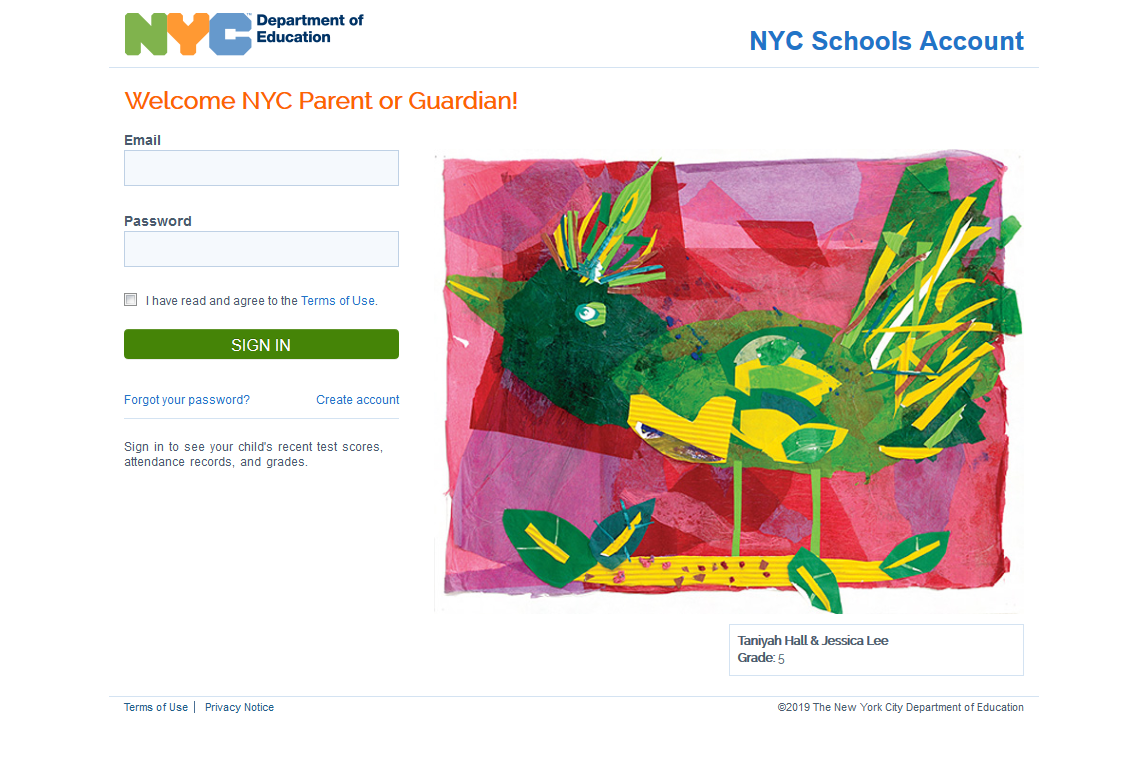 mystudent.nyc login page