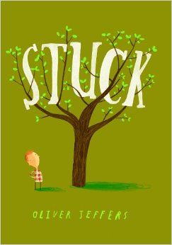 "Book Cover for ""Stuck,"" with a kite in a tree"