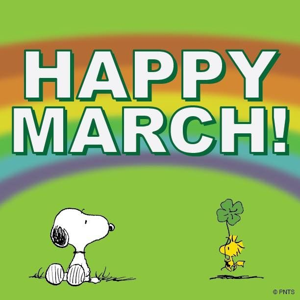 "Woodstock bringing Snoopy a four-leaf clover with the greeting ""Happy March"""