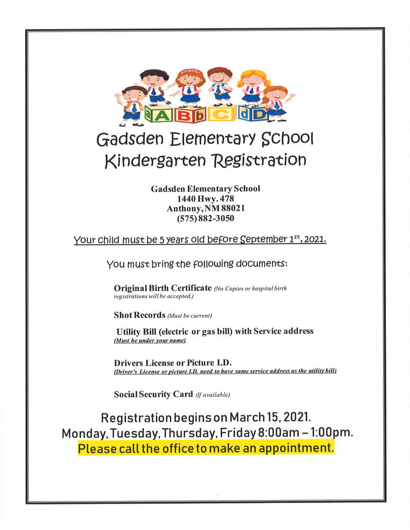 2021-2022 Kindergarten Registration Flyer English
