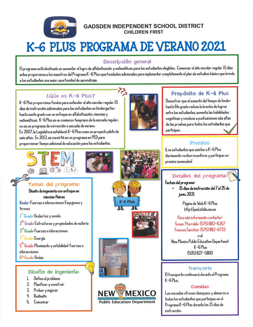 K-6 Plus Summer Program 2021 Spanish Flyer