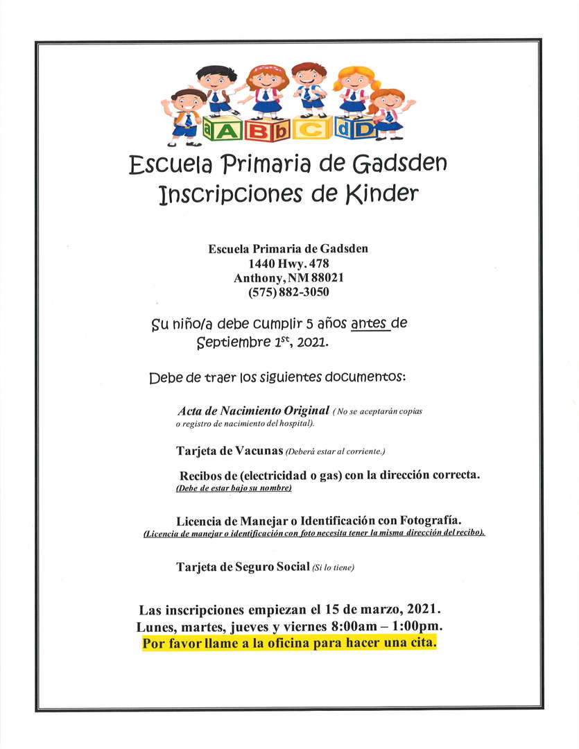 2021-2022 Kindergarten Registration Flyer Spanish