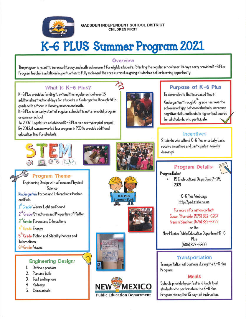 K-6 Plus Summer Program 2021 English Flyer