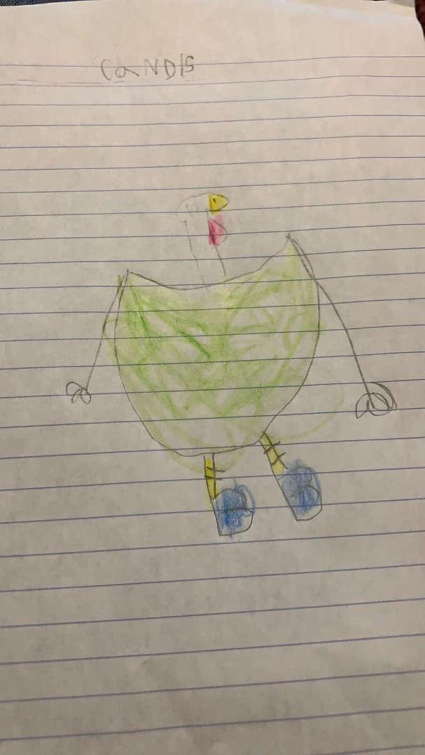 Green turkey on looseleaf