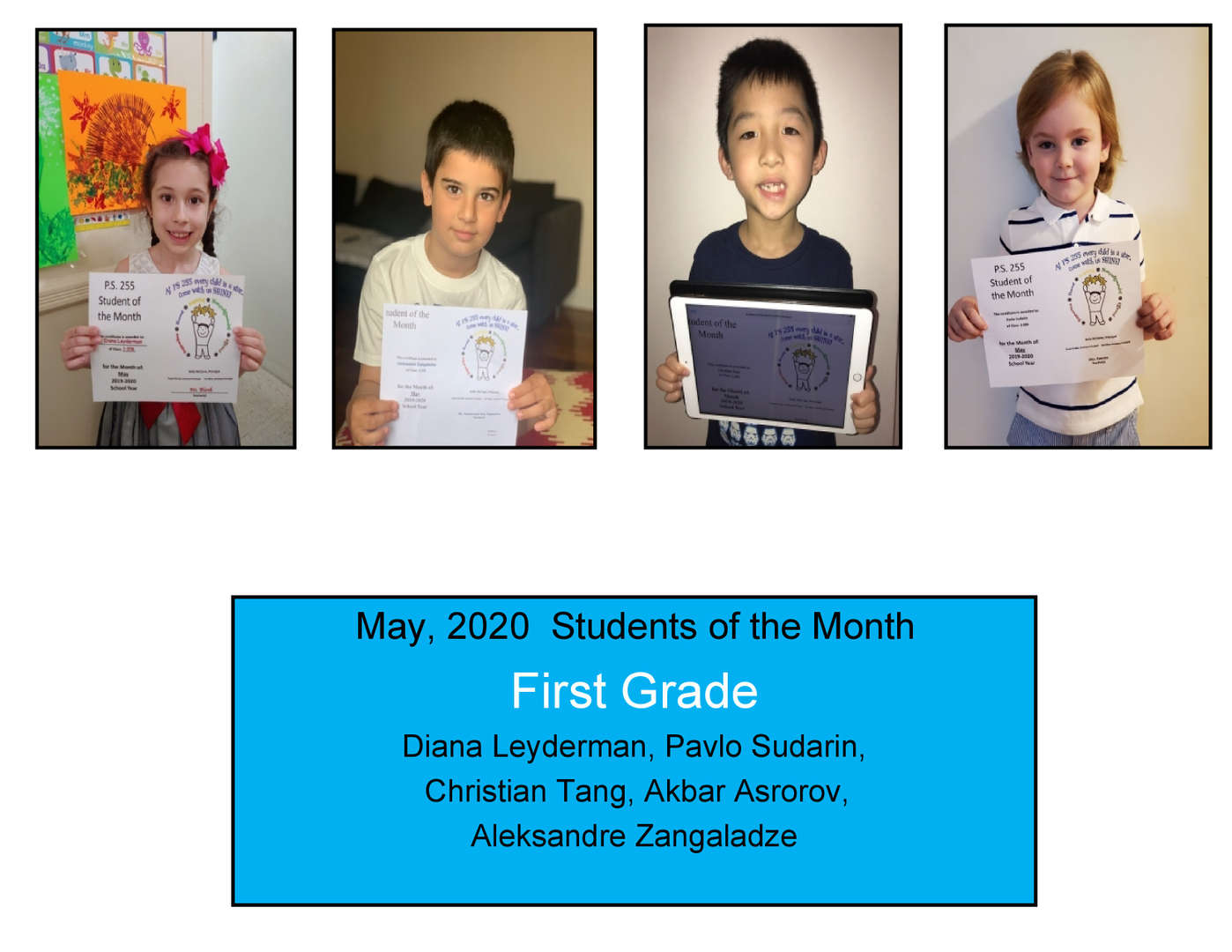 May Student of the Month Grade 1
