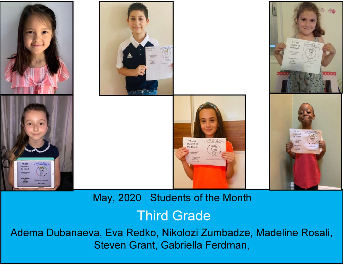 smiling students for May 2020 Student of the Month Grade 3