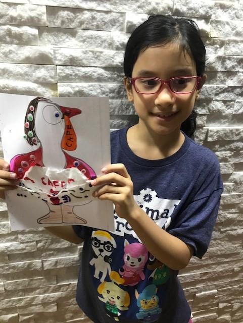 Girl holding turkey