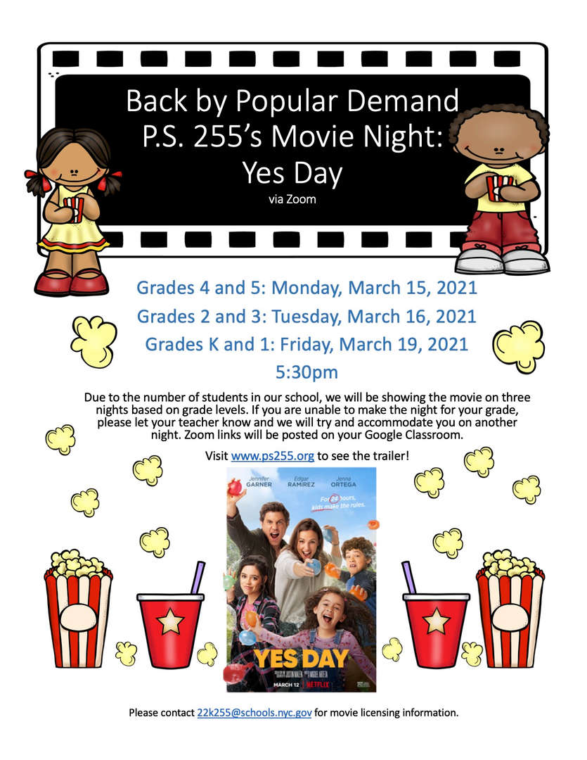 Flyer with the information for movie night